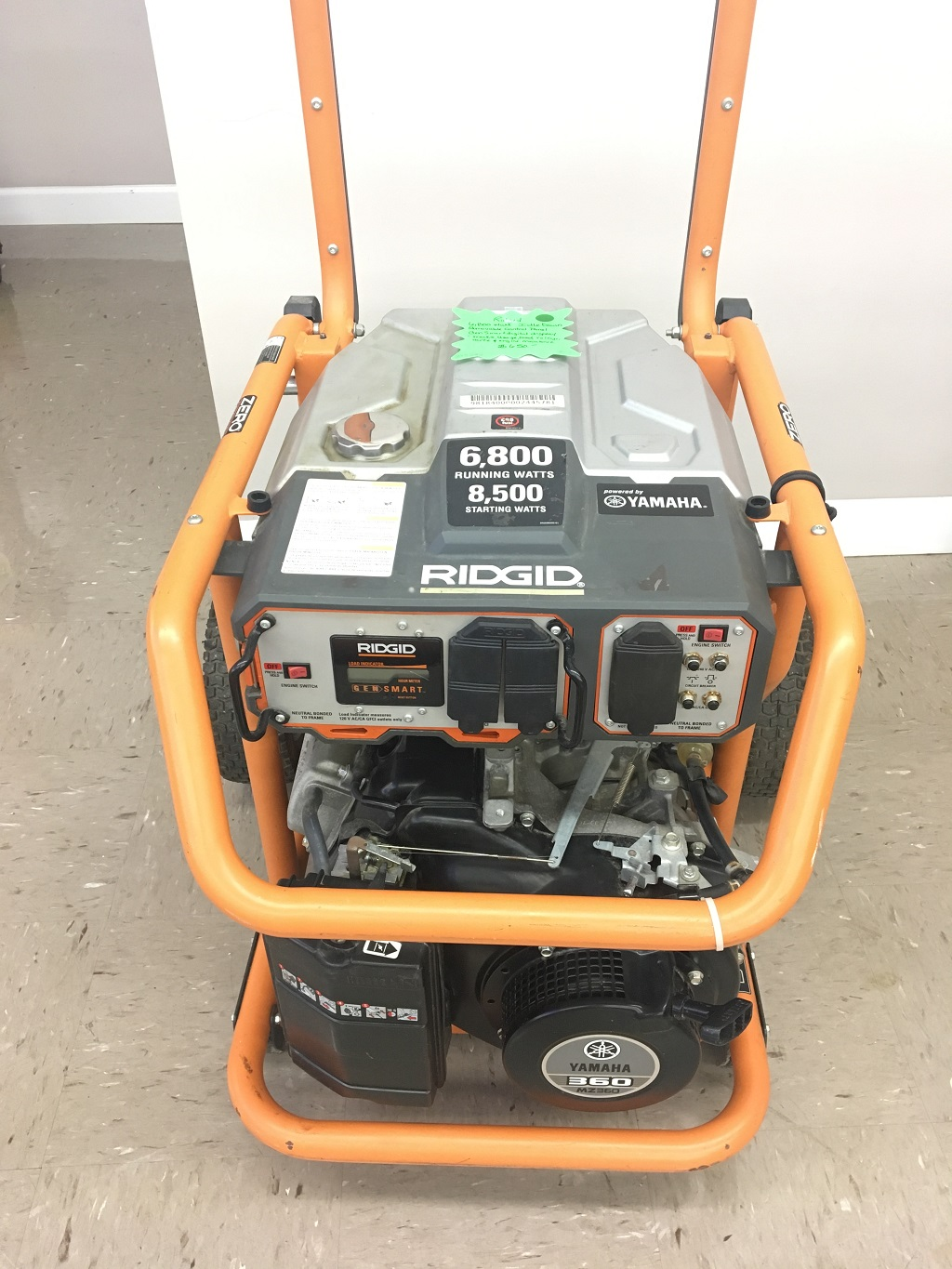 Ridgid 6,800 running watts & 8,500 starting watts.